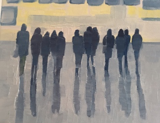 Passengers Reflecting, one of a series by artist Jo Holdsworth