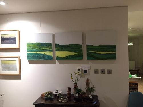 Hampshire Hills triptych by artist Jo Holdsworth - Merton Arts Festival 2017