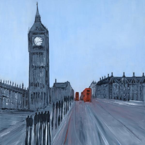 Jo Holdsworth - Destination London - Oil on canvas 80 x 80 cm
