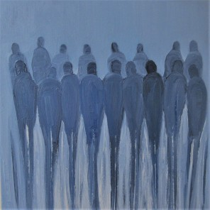 Jo Holdsworth - Lost City Crowd - Oil on canvas 54 x 54 cm