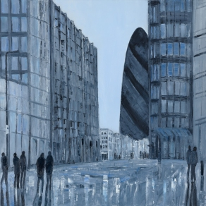 Jo Holdsworth - Reflected City - Oil on canvas 70 x 70 cm