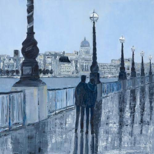 Jo Holdsworth - Riverside Walk - Oil on canvas 70 x 70 cm