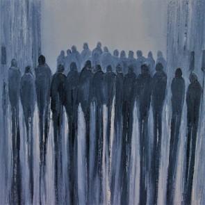 Jo Holdsworth - Street Life - Oil on canvas 54 x 54 cm