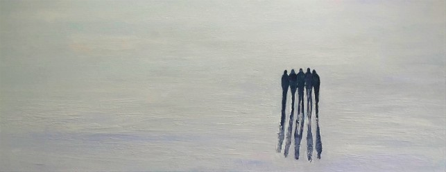 Jo Holdsworth - Togetherness - Oil on canvas 85 x 35 cm